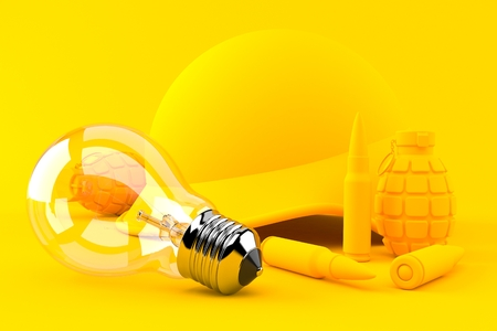 Military background with light bulb in orange color. 3d illustration