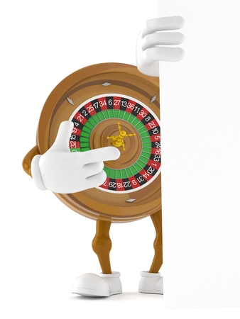 Roulette character pointing behind white board isolated on white background. 3d illustration