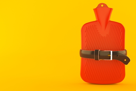 Hot water bottle squeezed by belt isolated on orange background. 3d illustration