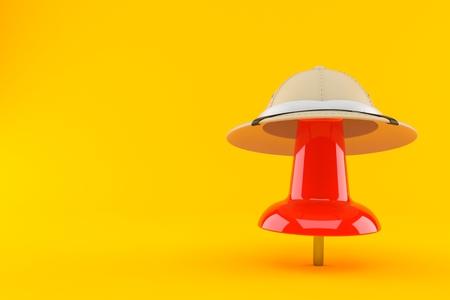 Thumbtack with safari hat isolated on orange background. 3d illustration