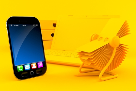 Office background with smart phone in orange color. 3d illustration