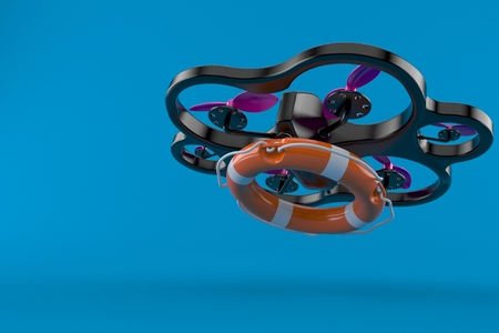 Drone with life buoy isolated on blue background. 3d illustration