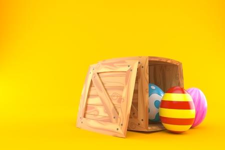 Easter eggs inside wooden crate on orange background. 3d illustration Imagens