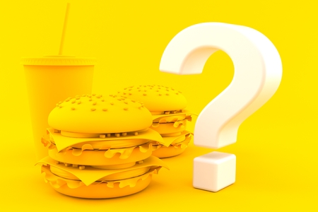 Fast food background with question mark in orange color. 3d illustration Stock Photo