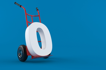 Hand truck with zero isolated on blue background. 3d illustration