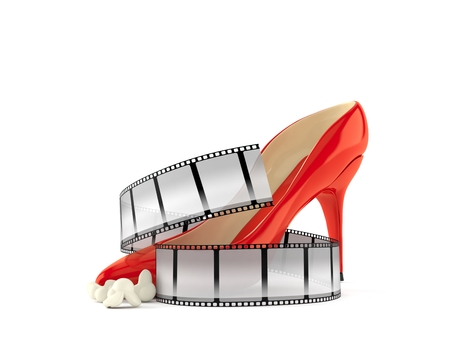High heel with film strip isolated on white background. 3d illustration