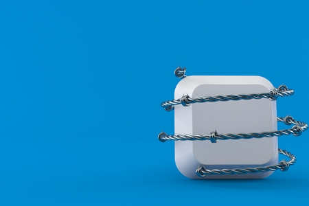Computer key with barbed wire isolated on blue background. 3d illustration Imagens
