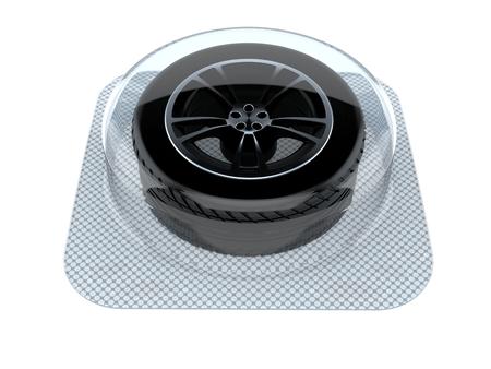 Car wheel isolated on white background. 3d illustration