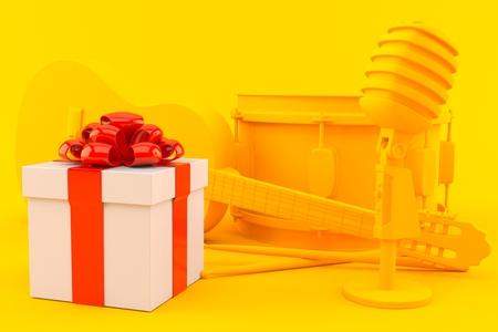 Music background with gift in orange color. 3d illustration Stock Photo