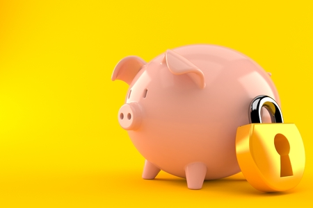 Piggy bank with padlock isolated on orange background. 3d illustration Imagens