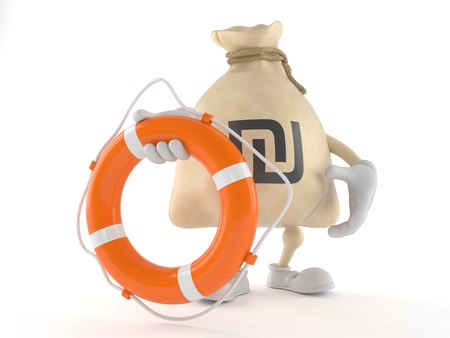 Shekel money bag character holding life buoy isolated on white background. 3d illustration Stok Fotoğraf