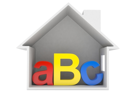 ABC text inside house cross-section isolated on white background. 3d illustration