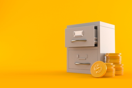 Archive with stack of coins isolated on orange background. 3d illustration