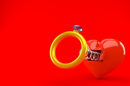 Engagement ring with heart isolated on red background. 3d illustration Banco de Imagens