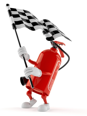 Fire extinguisher character waving race flag isolated on white background. 3d illustration