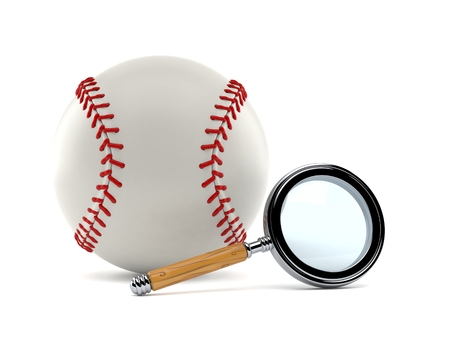 Baseball ball with magnifying glass isolated on white background. 3d illustration