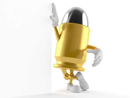 Bullet character leaning on wall isolated on white background. 3d illustration