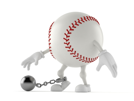 Baseball character with prison ball isolated on white background. 3d illustration
