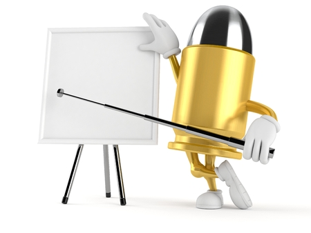 Bullet character with blank whiteboard isolated on white background. 3d illustration Stock Photo