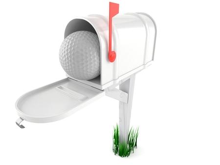 Golf ball inside mailbox isolated on white background. 3d illustration