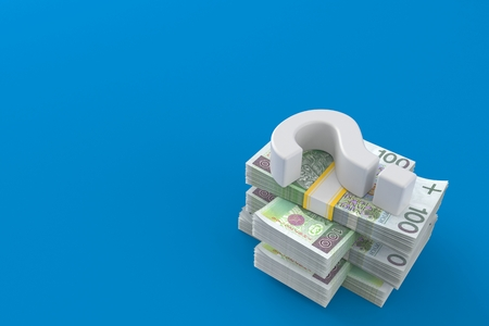 Question mark on stack of money isolated on blue background. 3d illustration Reklamní fotografie - 111781082