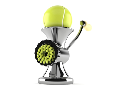Tennis ball inside mincer isolated on white background. 3d illustration
