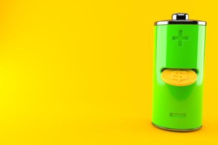 Green battery with golden coin inside isolated on orange background. 3d illustration Reklamní fotografie