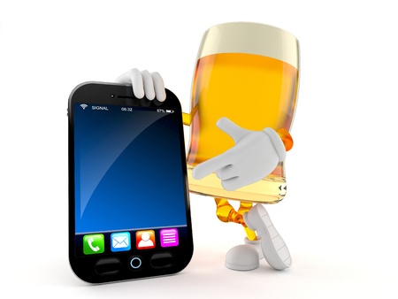 Beer character with smart phone isolated on white background. 3d illustration Banco de Imagens