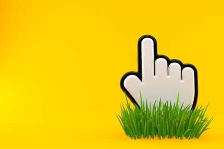 Cursor on grass isolated on orange background. 3d illustration Stock Photo