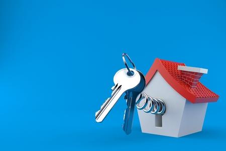 Door keys with small house isolated on blue background. 3d illustration Reklamní fotografie