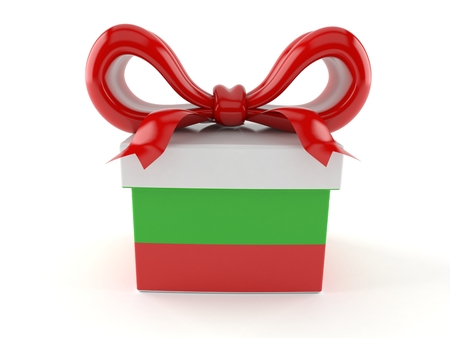 Gift with bulgarian flag isolated on white background. 3d illustration