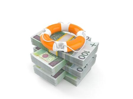 Life buoy on stack of money isolated on white background. 3d illustration