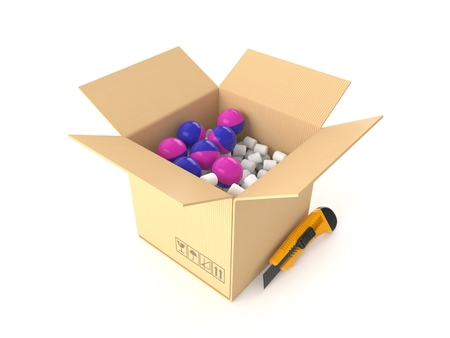 Paintballs inside package isolated on white background. 3d illustration