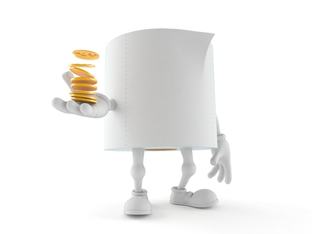 Toilet paper character with stack of coins isolated on white background. 3d illustration