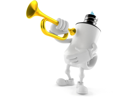 Toothpaste character playing the trumpet isolated on white background. 3d illustration