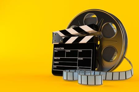 Film reel with clapboard isolated on orange background. 3d illustration