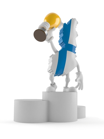 Finland character on podium holding trophy isolated on white background. 3d illustration