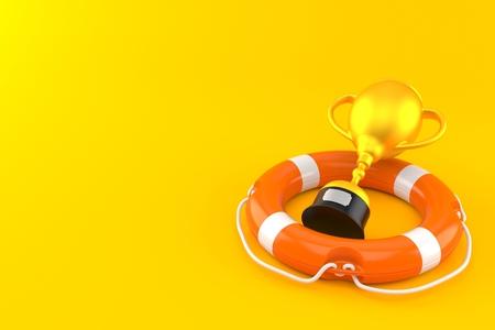 Golden trophy inside life buoy isolated on orange background. 3d illustration
