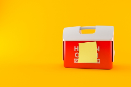 Cooler for human organ with blank yellow sticker isolated on orange background. 3d illustration