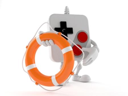Gamepad character holding life buoy isolated on white background. 3d illustration