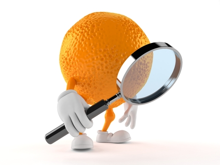 Orange character looking through magnifying glass isolated on white background. 3d illustration