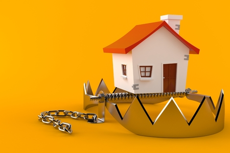 Bear trap with small house isolated on orange background. 3d illustration Reklamní fotografie