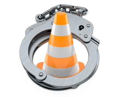Traffic cone inside handcuffs isolated on white background. 3d illustration 스톡 콘텐츠