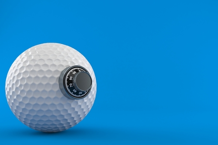 Golf ball with combination lock isolated on blue background. 3d illustration