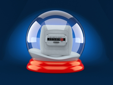 Electricity measure inside christmas glass ball on blue background. 3d illustration