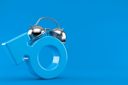 Male gender with alarm clock isolated on blue background. 3d illustration Banco de Imagens