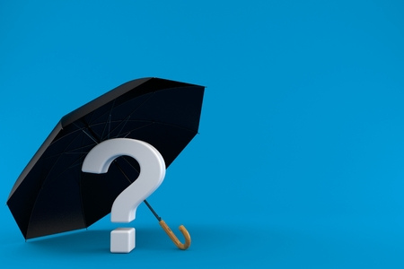 Umbrella with question mark isolated on blue background. 3d illustration Stock Photo