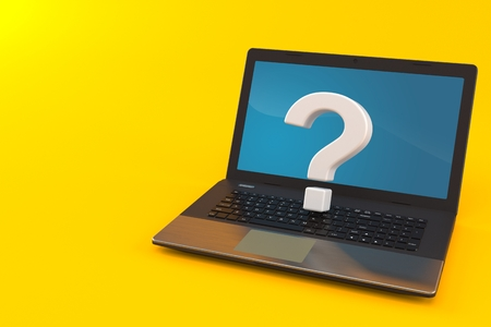 Question mark with laptop isolated on orange background. 3d illustration Stock Photo