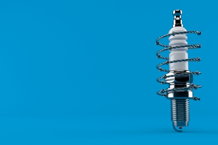 Car candle with barbed wire isolated on blue background. 3d illustration