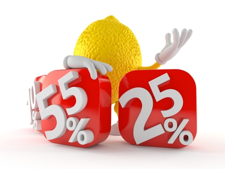 Lemon character behind percentage signs isolated on white background. 3d illustration